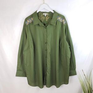 ♦️2/$20 Woman Within Green Embroidered Button-up